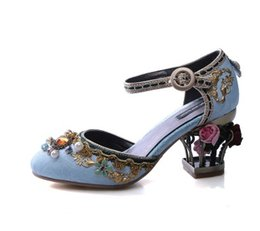 Chinese  embroidery water drill hollow bird cage high heel banquet sandals bride wedding shoes red color 402 manufacturers