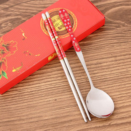 $enCountryForm.capitalKeyWord Australia - Chinese Style Spoon Chopstick Sets with Gift Box Packaging Stainless Steel Tableware Wedding Party Favor