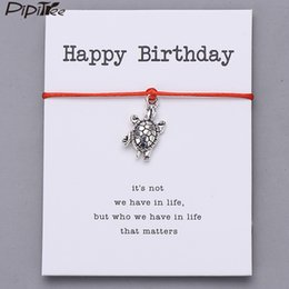 Pipitree Happy Birthday Gift Vintage Turtle Charm Bracelet For Women Men Kids Best Wish Bracelets Lucky Red String Jewelry