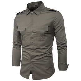 $enCountryForm.capitalKeyWord Australia - Fashion Autumn Winter men's clothes chest double shirt pocket design slim Fit army Green men long sleeve shirt man men 's shirt C18111601