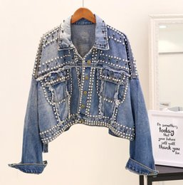 Studded jacketS online shopping - 2018 New Autumn Women s Hand Rivet Studded Denim Jacket Loose Outwear Female Students Casual Short Denim Coats