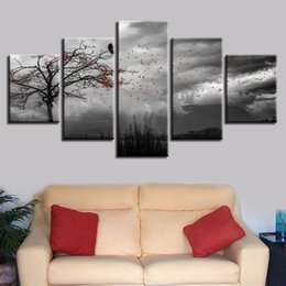 $enCountryForm.capitalKeyWord UK - Black And White Picture Printing Decor Wall Art 5 Pieces Flowers Flying In The Sky And Tree Bird Scenery Modular Canvas Painting