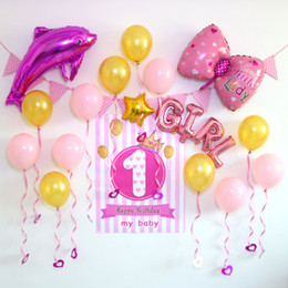 2018 Baby Years Of The Year Childrens Party Decoration Dress Up Aluminium Balloon Background Wall Happy Birthday Set