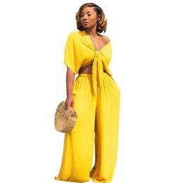 a3c2f45b530 Women Summer Set 2 Piece Set Short Sleeve Bow Tie Up Crop Top and Long Wide  Leg Pants Fashion Ladies Trousers Suits