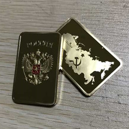 Russia Coin UK - 50 Pcs The Collectible Russian map ingot bar 1 OZ 24K real gold plated badge 50 x 28 mm Russia souvenir coin wholesale free shipping