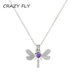 """K1393 Glass Beads Cage Locket With Rhinestone Dragonfly Floating Necklace 20/"""""""