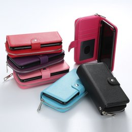 China 2 in 1 Detachable Flip Leather Bracelet Zipper Wallet Holster Pouch Case Magnetic Phone Cover Clutch Pocket Money Shell for iPhone Samsung supplier phone wallet detachable suppliers