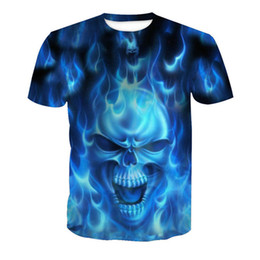 Top Novelty NZ - Blue Fire Skull 3D t shirt Men Harajuku Novelty 2018 Hip Hop Tee Tops Funny Printed Mens Streetwear 6XL Anime Boys T shirts