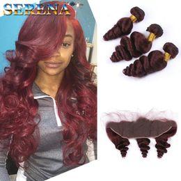 cheap loose body wave hair 2018 - Cheap 99j Burgundy Brazilian Body Wave Virgin Human Hair Weave 4 Bundles With Frontal 10-30inch Straight Deep Loose Wave