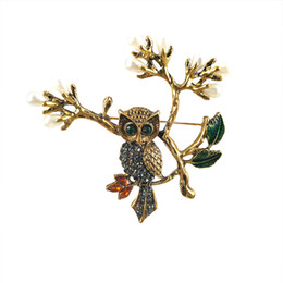 small rhinestone pearl brooch NZ - New cartoon twig owl set rhinestone gold pin alloy versatile imitation pearl animal brooch clothing small jewelry wholesale