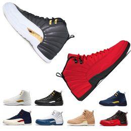 premium selection 5a98e 7d635 Retro Air Jordan 12 AJ12 negro blanco gimnasio rojo hombre zapatos de  baloncesto para hombres juego de la gripe azul francés CNY Sneakers gimnasio  rojo taxi ...