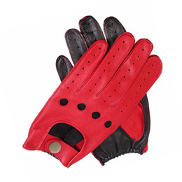 Discount mens leather fingerless driving gloves - Fashion Male Genuine Leather Gloves Sheepskin Mens Wrist Unlined Breathable Genuine Fashion Driving Gloves Men Mittens