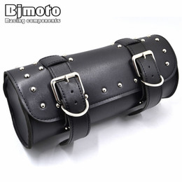 China BJMOTO Black Motorcycle Saddlebag Side Bag PU Leather Roll Barrel Tool Bag Motorbike Saddle for Harley Sportster Touring supplier motorcycle motorbike tools suppliers