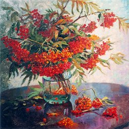 paintings vases Australia - Diy diamond painting cross stitch kit rhinestone full round diamond embroidery flower red orchid vase home mosaic decoration gift yx2869