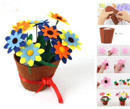 teachers toys Australia - Free-growing Simulation Thread Sewing Potted Plants DIY Decorative Flower Thanksgiving Teachers' Day Gift Children Handmade Toy Flower Kits