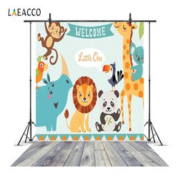China Laeacco Safari Animals Wooden Floor Newborn Baby Shower Photography Backgrounds Custom Photographic Backdrops For Photo Studio cheap backdrop for newborn photography suppliers