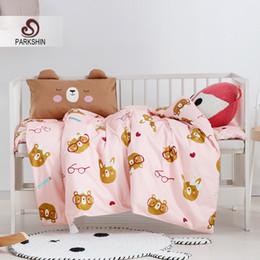 $enCountryForm.capitalKeyWord NZ - Parkshin Child Cartoon Bear Baby Pink Active Printing Bedding Set 100% Cotton Soft Protect Kids Skin Comfortable Bedspread