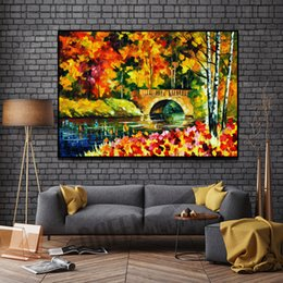 worlds famous painting NZ - Modern Attractive Knife Oil Painting on Canvas Handmade Attractive Beautiful World Famous Ancient Bridge for Living Room Bedroom Wall Decor