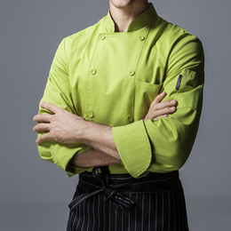 Hotel Restaurant Uniform Canada - Red Green Long Sleeve Shirt Hotel Restaurant Diner Kitchen Chef Catering Uniform Cafe Bistro Baker Bar Hospitality Work Wear B77