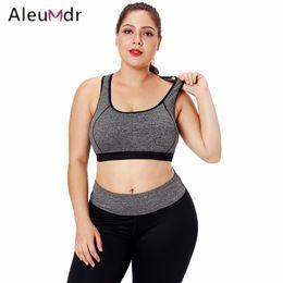 2ad545b4352ce Plus Size Sports Bras NZ - Aleumdr Fitness Women Sport Bra Top Plus Size  Gray Piping