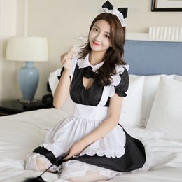 Female Cat Woman Costume Australia - Maid Uniform Costumes Role Play Women Sexy Lingerie Hot Sexy Underwear Lovely Cat ear Female White Lace Erotic Costume Y18102206