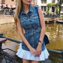 2ad43757681 Элегантный мода джинсовые платья женщин рукавов плиссированные лоскутное  жилет платья отложным воротником джинсы старинные летние sweetwear платье  женский