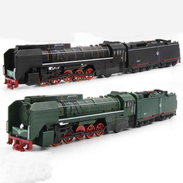 toy buses for children 2019 - One Size Steam Train Diesel Locomotive Alloy Model toy cars Pull Back Sound Light Model toys for children cheap toy buse