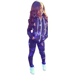 China Women Fashion Hooded Tracksuit Sexy Stars Sky Print Hooded Sports Wearing Hoodies Coats + Pants 2 Piece Set Outfit Womens Sweat Suits cheap racing wear women suppliers