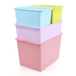 Modern toy storage online shopping - Large Number Thickening Storage Box Plastic With Cover Minimalism Modern Sturdy Finishing Boxes Colorful Multi Function zl3 ff