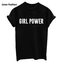 $enCountryForm.capitalKeyWord Australia - Women T shirt GIRL POWER Letters Printing Short Sleeve Leisure Tops Tee White Black Summer Fashion HC-TT3145