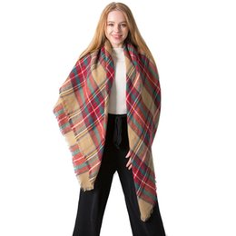 Scarf Square Cotton Australia - Winter Scarf Women Plaid Scarf Designer 140cm square Cashmere Shawls Women's Scarves Dropshipping