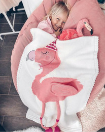 baby blankets knit patterns UK - Flamingo blankets Air conditioning blanket for children Baby boys and girls knitted blankets lovely Flamingo Woolen quilt