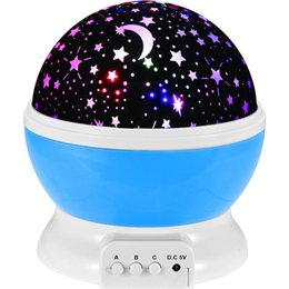 China Romantic Led starry sky Night Lamp Rotating Starry Star Moon Sky Rotation Night Lighting Projector Lamp Kids Children Baby Sleeping Lights cheap rotation switch suppliers