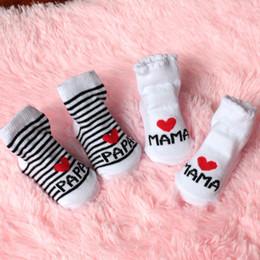 Beautiful Infants NZ - Newborn Socks 10 Pairs Lot Beautiful Baby Newborn Infant Girls Kids Stripe Cotton Lovely Princess Socks Love Mama  Papa