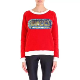 Brand Designer Women Sequin Letters Sweaters 2018 Autumn Winter Casual  Round Neck Red Knit Jumpers Loose Oversized Pullover Tops d968670f1