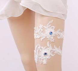 Blue Rhinstone Bridal Wedding Leg Garter women Garter White Embroidery Sexy Garters 2pcs set high quality free ship on Sale