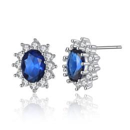 71cfb2c43049 18 K oro blanco plateado completo pavimentado cristales claros ovales rojo    azul grande CZ circón cúbico piercing Stud pendientes joyería de moda  para las ...