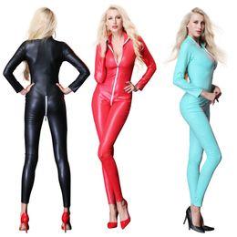 014b93ed1ff Women s Sexy Faux Leather Latex Catsuit Costumes Zipper Cross Crotch For Clubwear  Stripper Halloween Party Fancy Dress