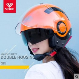 Yohe Helmet Half Face Australia - 2018 Winter New Knight protection YOHE Half Face Motorcycle Helmet MINI Double lens Motorbike Helmets of ABS and PC lens Visor