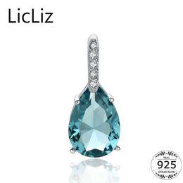 Long Big Pendants Australia - LicLiz 925 Sterling Silver Big Water Drop Pendant Charm Necklace CZ Long Women DIY Blue Quartz Crystal Necklace Pendants LP0251