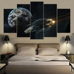 Art Canvas Prints Australia - Modern Frames For Print Modular Cheap 5 Panel Spaceship Pictures Wall Art For Living Room Decoration Artwork Planet Landscape Canvas