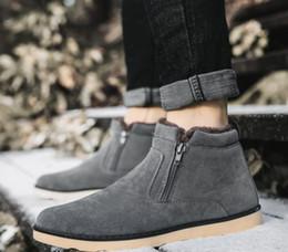 8205d320ea 2018 novo Tamanho Grande Sapatos Masculinos Top Quality Inverno Casual Mens  Ankle Boots Quente Barato Unisex Botas Com Zíper De Couro De Neve Macho
