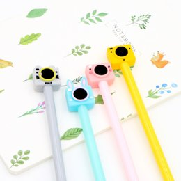 Stationery Australia - 2 pcs 0.5mm New Cute Color Camera Pens Gel Black Pen Writing For School Supplies Stationery Items Kawaii Pen Stationery Items