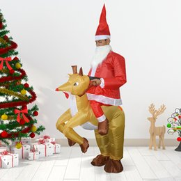reindeer christmas suit NZ - 2018 Christmas Decoration for home Adults Santa Riding Reindeer Inflatable Costume Suit Inflatable Fancy Dress Up Party Supplies