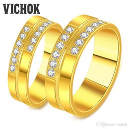 $enCountryForm.capitalKeyWord Canada - Bar Setting Gold Color Couple Rings 316L Stainless Steel Women Men Rings Wedding Statement Ring Sets Bands Fine Jewelry Free Shipping VICHOK