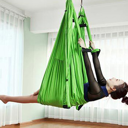 Discount aerial hammock - Stocked 6 Handles Fitness Nylon Taffeta Yoga Hammock Inversion Belts Anti-Gravity Aerial High Strength Swing Hamac Hangi