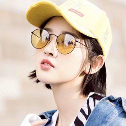 b808f31a6f 2018 vintage sunglasses women metal round new arrival sunglasses brands  50mm black yellow lense oculos glasses men sun glasses with case