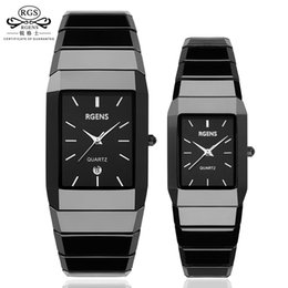 Discount squared watches - Luxury Ceramic square watches for women mens couple clocks black men's women's quartz wristwatches waterproof