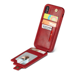 Iphone Flip Up Australia - High Quality Leather Case Cover For iPhone X Up Down Card Slot Flip Wallet Photo Frame Pouch For iPhone 9 8 7 6S Plus