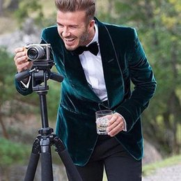 velvet one piece designs 2019 - Casual Velvet Men Suits Two Piece Shawl Lapel Suits Design for Wedding Dinner Party Groom Prom Tuxedos Green Men Blazer